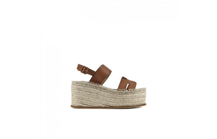 Brown esparto platform sandal
