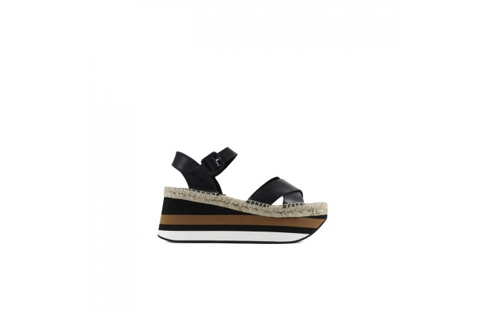 Black Esparto Flat Sandal