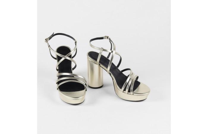 Gold round heeled sandal...