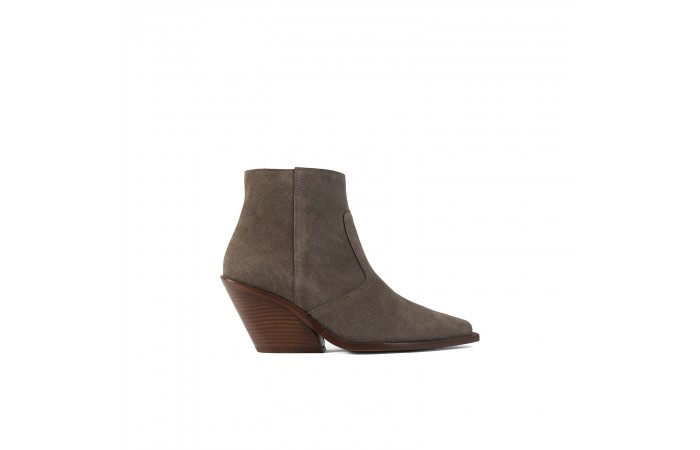 Taupe cowboy suede ankle boots