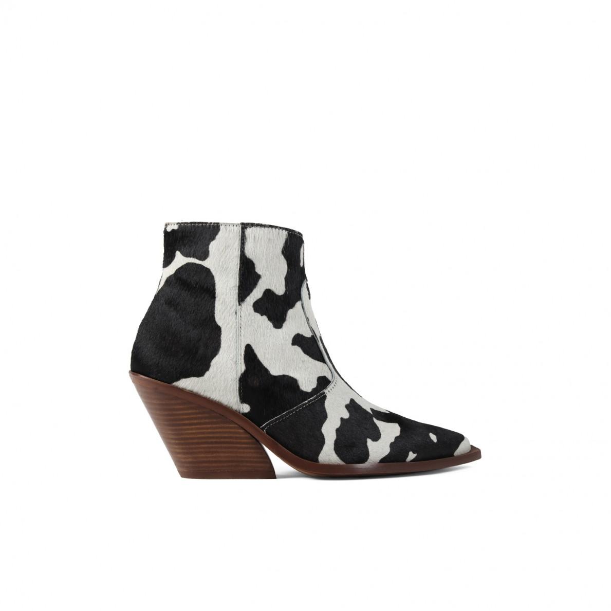 san francisco 982b9 a5a1a Animal print hair cowboy ankle boots