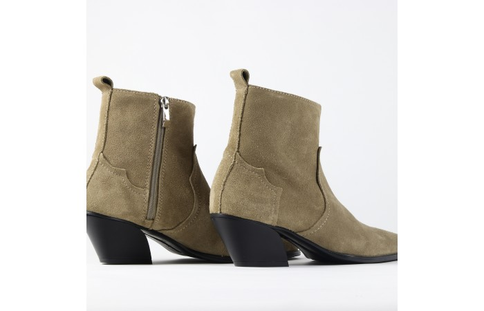 Brown cowboy suede ankle boots