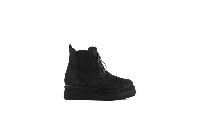 Grey suede platform boots