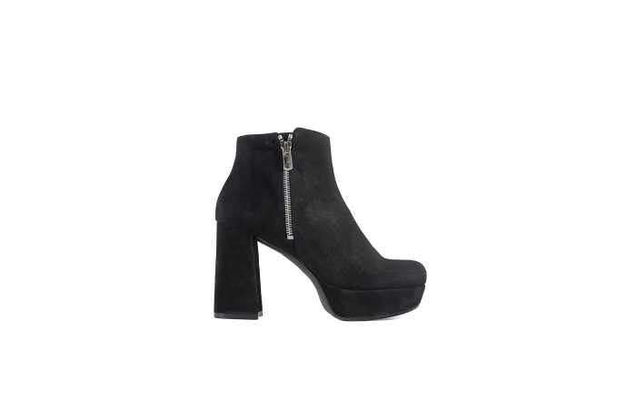 Black suede elephant heel...