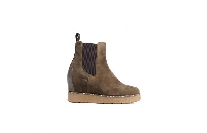 Brown suede platform boots
