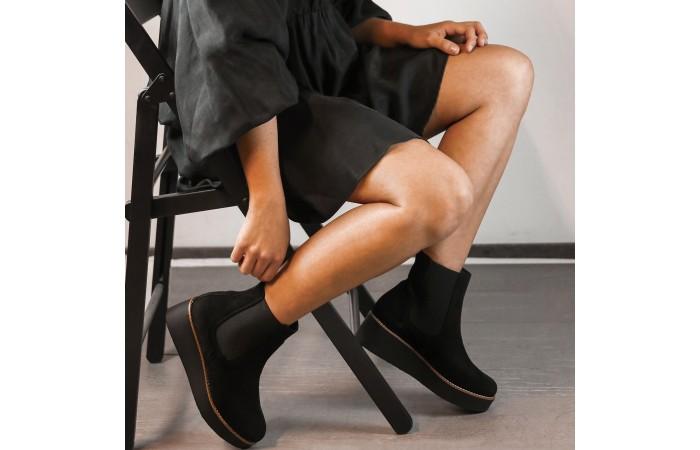 Black platform clea boots