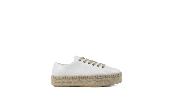 White leather platform...