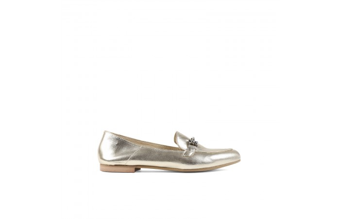 Metallic leather moccasin
