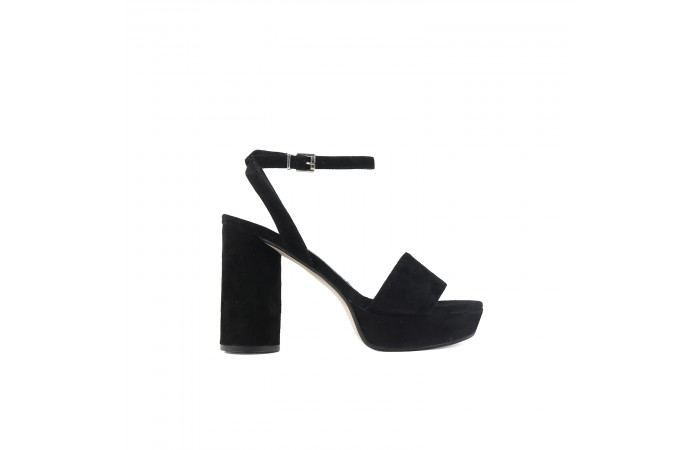 Black round heeled sandal