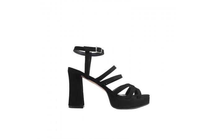 Black elephant heel straps...