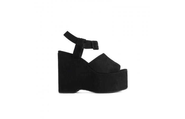 Black suede platform sandal