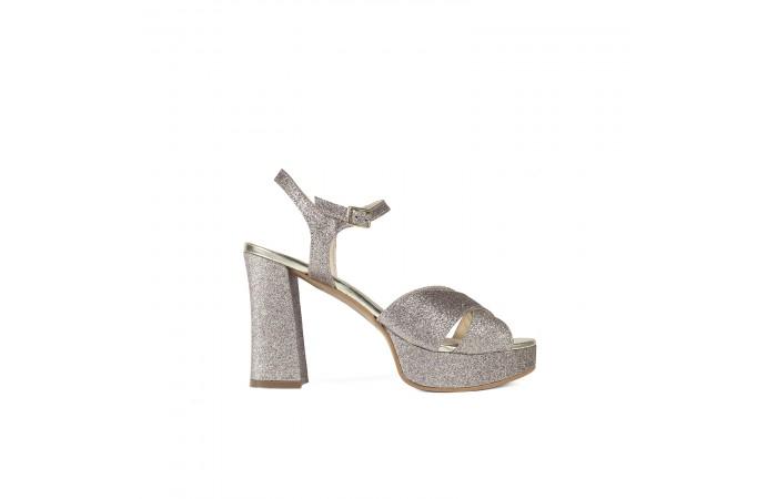 Glitter heeled sandal
