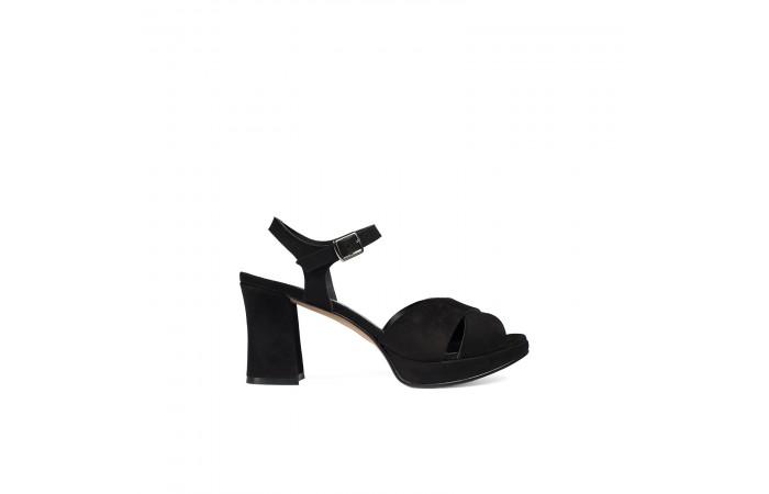 Black midi heel sandal