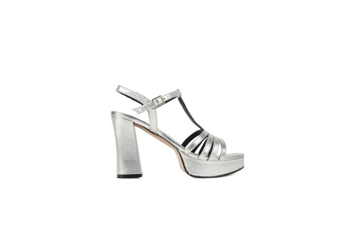 Silver elephant heel sandal