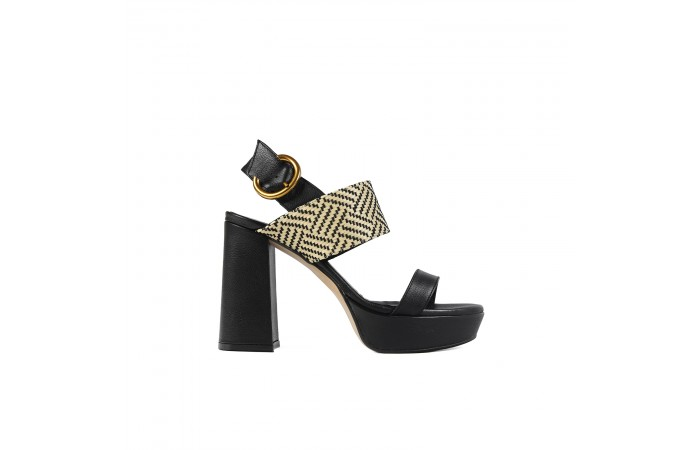Black Platform Buckle Sandal