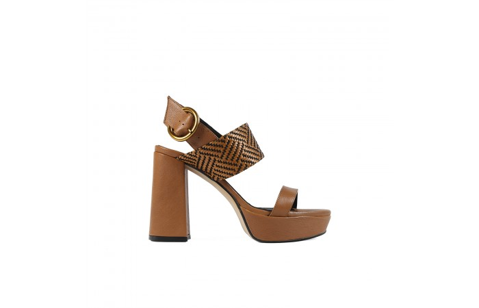 Brown Platform Buckle Sandal