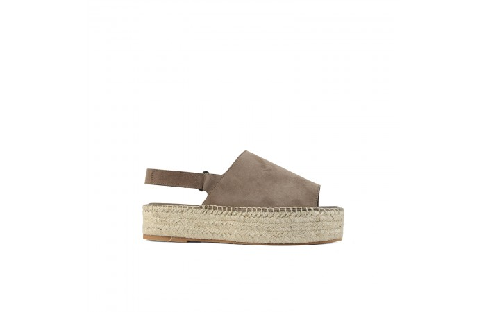 Brown platform esparto sandal