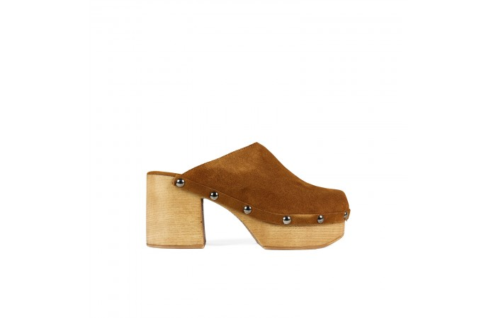 Brown Studded Suede clog