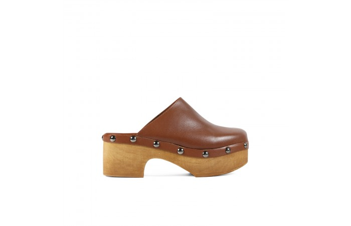 Brown Studded leather clog