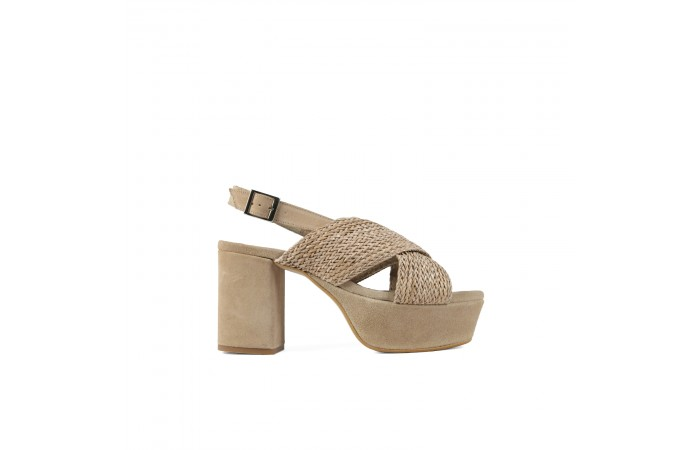 Beige cross Mel heel sandals