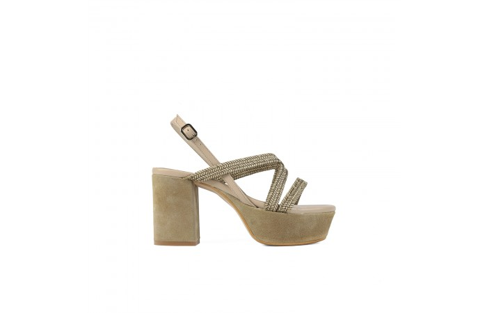 Beige braid Mel heel sandals