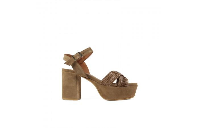 Brown braid Mel heel sandals