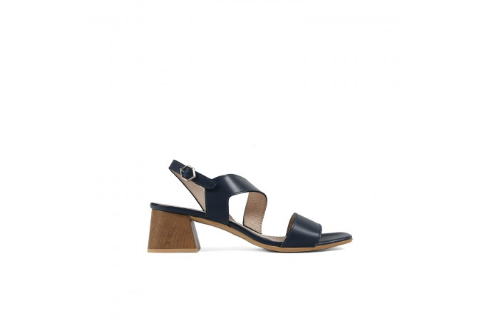 Blue geometric heeled sandal