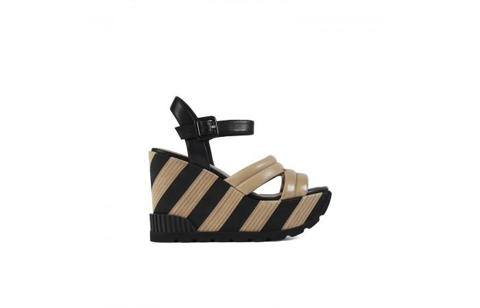 Beige platform Rocco sandal