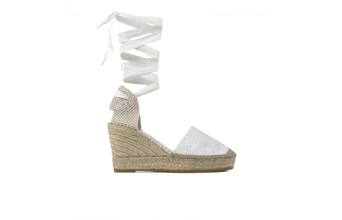 White Esparto Wedge Strap...