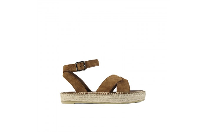 Brown Crossed esparto sandal