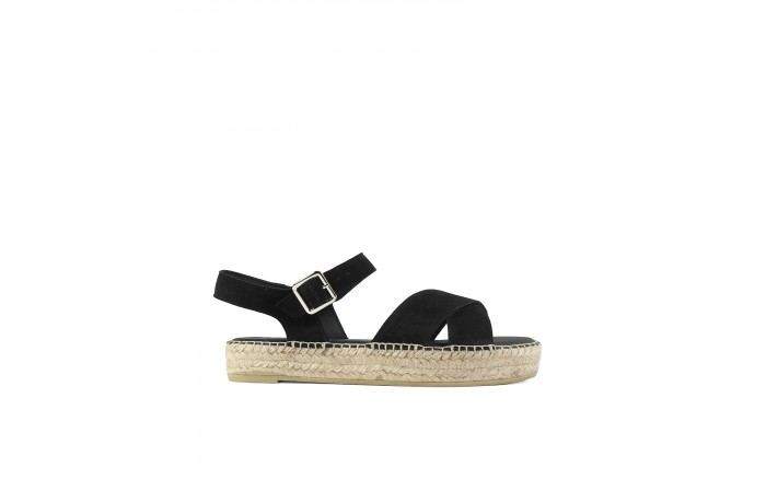 Black Crossed esparto sandal