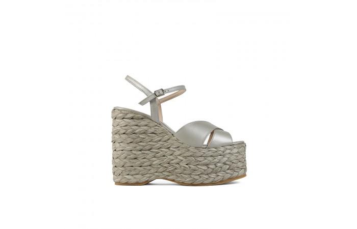 Silver Platform braid Sandal