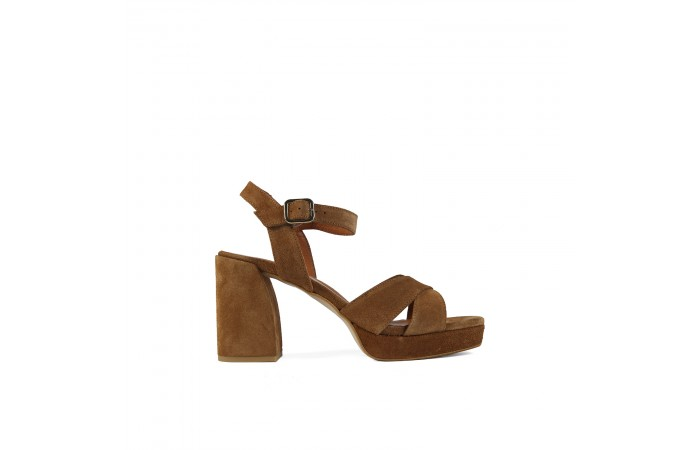 Brown Geometric heeled...
