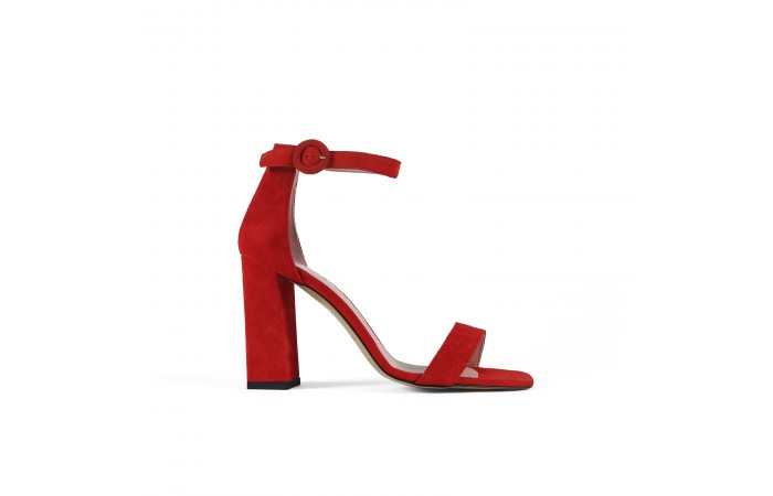 Red heeled sandal