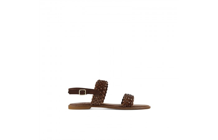 Brown braided flat sandal