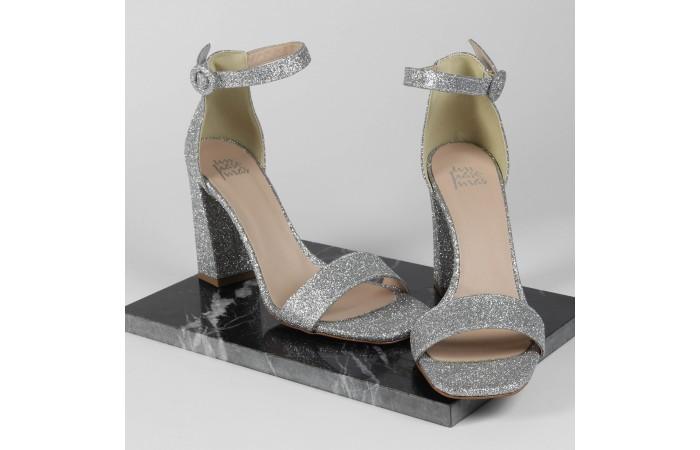 Sandàlia Taló Glitter Plata