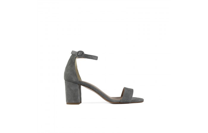 Gray midi Heeled Sandal