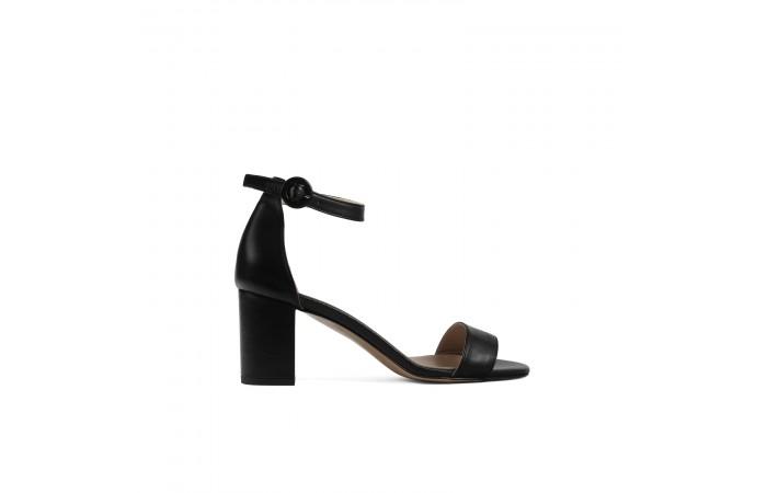 Black midi Heeled Sandal