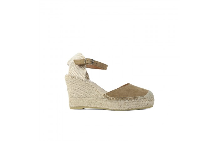 Beige Esparto Wedge Sandal