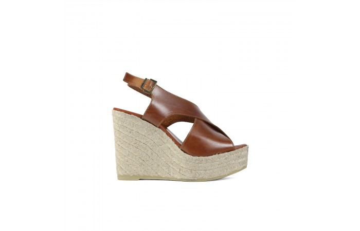 Leather crossed wedge...