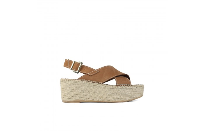 Leather crossed esparto sandal