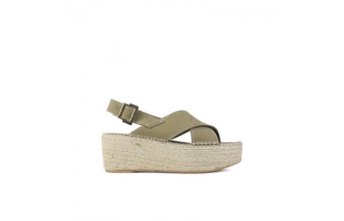 Green crossed esparto sandal