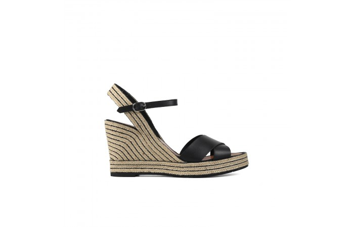 Black stripes Esparto Wedge...