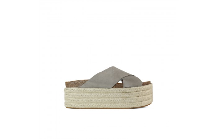 Gray crossed Monk sandal