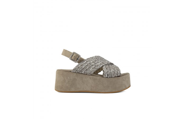 Taupe crossed platform sandals
