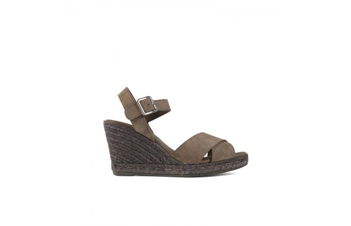 Brown wedge esparto sandals