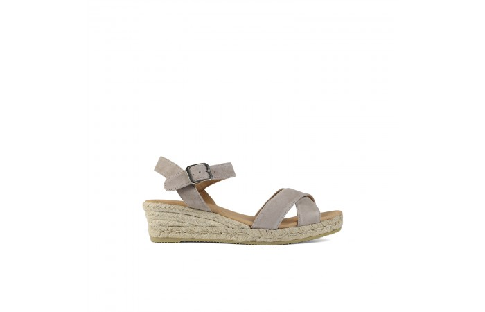 Gray wedge esparto sandals