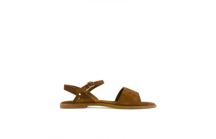 Camel suede flat sandal