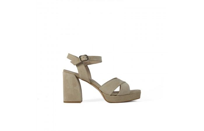 Beige Geometric heeled...