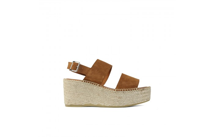 Camel Esparto Platform sandal